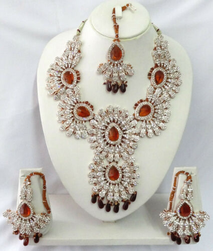Indian Bollywood Bridal Kundan Diamante Necklace Set Fashion Jewelry ECL A045W