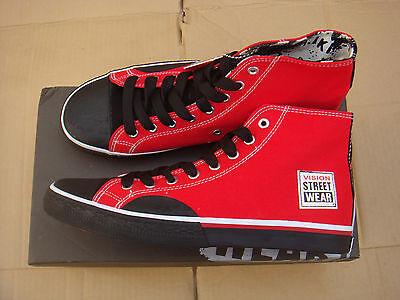 Nuevo Patineta Rojo/Negro Vision Street Wear Lona Hi Zapatillas Uk Size 12