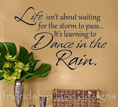 """Life...Dance in the RAIN"" Vinyl Wall Decal/Words/Sticker/Lettering/Quote"