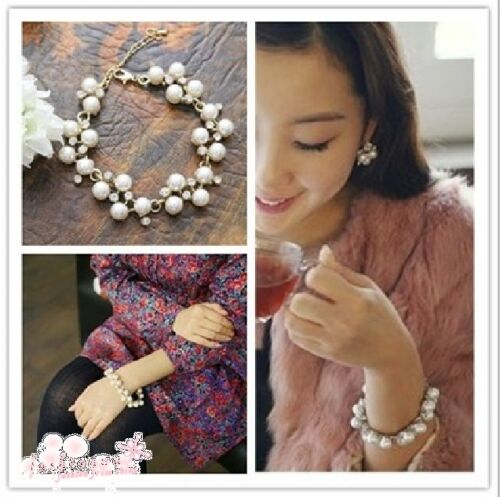 2012 New Fashion Cute Charm Lovely Pearl Crystal  Bowknot Bangle Bracelet