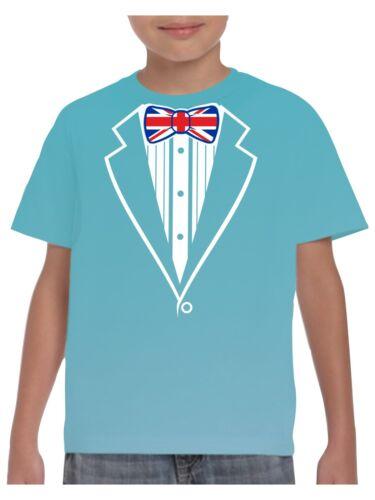 Kids Tuxedo T Shirt With Union Jack Flag Bow Tie School event Fancy Dress