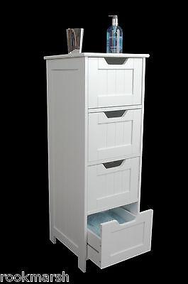 SLIM White Wooden Storage Cabinet with Drawers  - bathroom,bedroom Freestanding