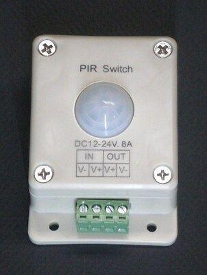 LED LIGHTING MOTION SENSOR SWITCH 12 - 24 VOLTS DC 8 AMP - LED STRINGS FLEX PIR1