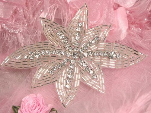 """0399 ~ CRYSTAL CLEAR RHINESTONE SILVER BEADED APPLIQUE PATCH 4.75""""  FLORAL @ :)"""