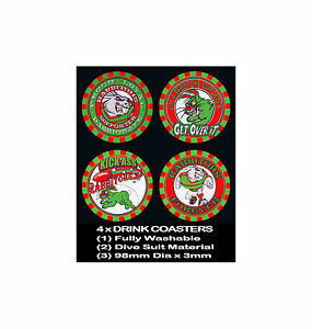 4-x-RABBITOHS-SOUTHS-FOOTBALL-RUGBY-LEAGUE-AUSSIE-RULES-SOCCER-DRINK-COASTERS