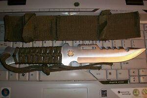 Military-Army-Surplus-Tactical-Knife-w-Coast-Guard-Insignia-10-1-4-Sheath-G9