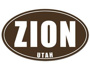 3x5 Inch Oval Zion Utah Sticker Rv Decal Camp National