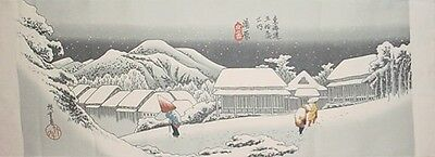 Tenugui Cloth Cotton Fabric 'Night Snow at Kanba' by Hiroshige Japanese Art