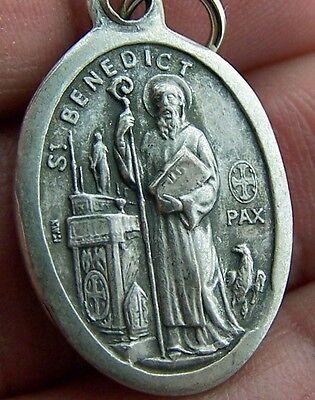 "Rare Catholic St Benedict Religious Patron Saint Medal Silver Pendant Charm 1"""