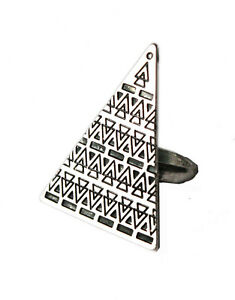 Asos-Silver-Look-Aztec-engraved-Large-Triangle-Ring