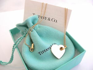 Tiffany co 18k gold mother of pearl double heart for New mom jewelry tiffany
