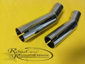 Chrome-Exhaust-Pipe-Extension-1-1-2-034-Suit-Triumph-Triton-039-s-Customs-Cafe-039-Racers