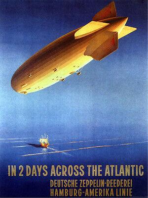 Zeppelin Across Atlantic Hamburg Travel Tourism Vintage Poster Repro FREE S/H