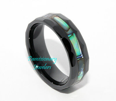 Private for 1021je Black Ceramic Abalone Shell Inlay Faceted Ring Size 11