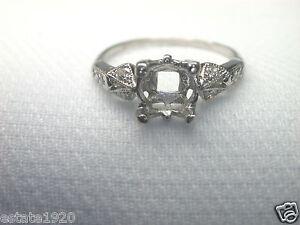 Antique-Diamond-Engagement-Ring-Setting-Mounting-Mount-Platinum-Hold-1-CT-6-50MM