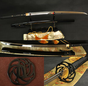 Japanese-Samurai-Sword-Katana-1095-Carbon-Steel-Iron-Tsuba-Double-Blood-Groove