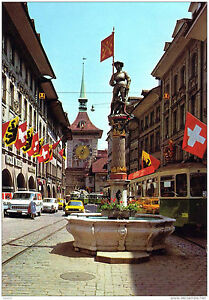 Suisse-Berne-Fontaine-de-l-039-Archer-et-Tour-de-l-039-Horloge-1979