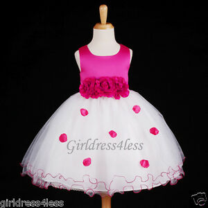 FUCHSIA-HOT-PINK-PAGEANT-PARTY-BRIDAL-FLOWER-GIRL-DRESS-6-12M-18M-2-4-6-8-10