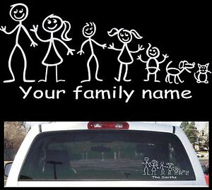 Stick Figure Family Decal Custom For Your Family Rear Window Decal - Family window decals