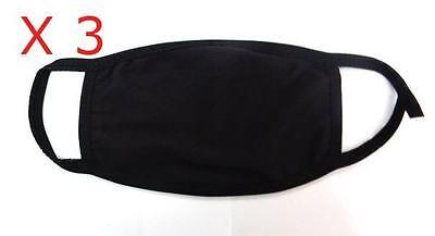 3 x Black Anti-Dust Cotton Mouth Face Mask Respirator