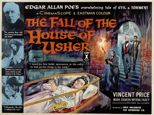 THE FALL OF THE HOUSE OF USHER Movie Poster 1960 Vincent Price