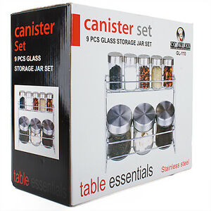 9-PCS-Stainless-Steel-Canister-Set-Glass-Storage-Jar-Set