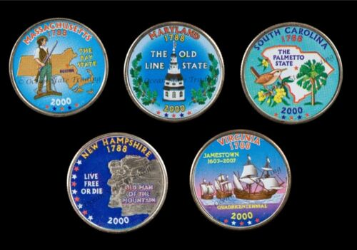 2000 Complete Set Of Colorized State Quarters - P Mint (5 Coins)