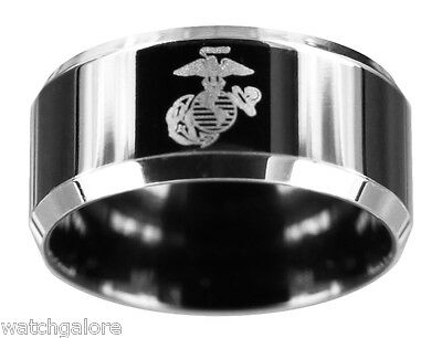 Men's 10mm Stainless Steel Black Finished US Marine Corps USMC Military Ring