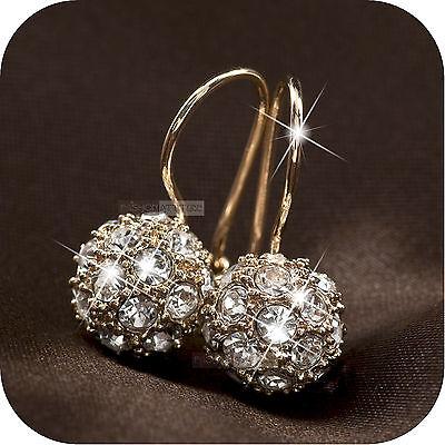 18k rose gold gp made with SWAROVSKI crystal ball stud dangle earrings