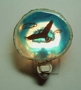 Nightlight Soaring Eagle on Genuine Brazilian Agate Stone New E5