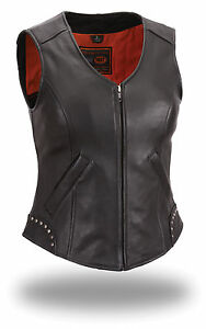 First-Classic-Ladies-Rivet-Detailed-Naked-Cow-Leather-Motorcycle-Vest-FIL560NOC