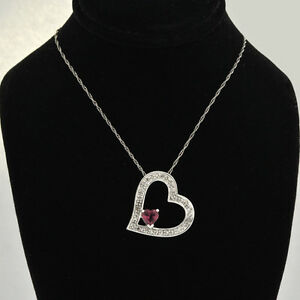 Lovely-14k-Gold-Genuine-Diamond-Open-Heart-Pendant-Accents-Toumaline-w-18-034-chain