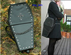 gothic-Punk-visual-Rock-coffin-shape-handbag-backpack