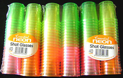 NEW 120 COLOURFUL NEON DISPOSABLE PLASTIC SHOT CUPS GLASSES PARTY GREEN PINK ETC