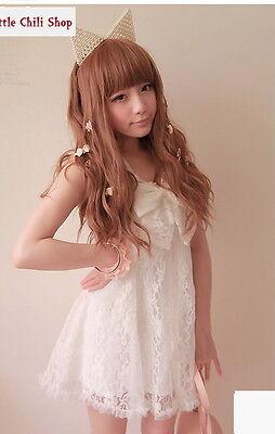 Girls Princess Japan Street Dolly Lolita Kawaii BOW Lace Top Shirt Dress White L