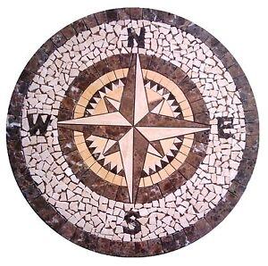 Floor Marble Medallion Compass Rose Tile Mosaic 32 Compass