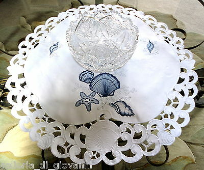 "TREASURES OF THE SEA  Lace Doily  24""  Table Topper  Nautical Ocean Seashell"