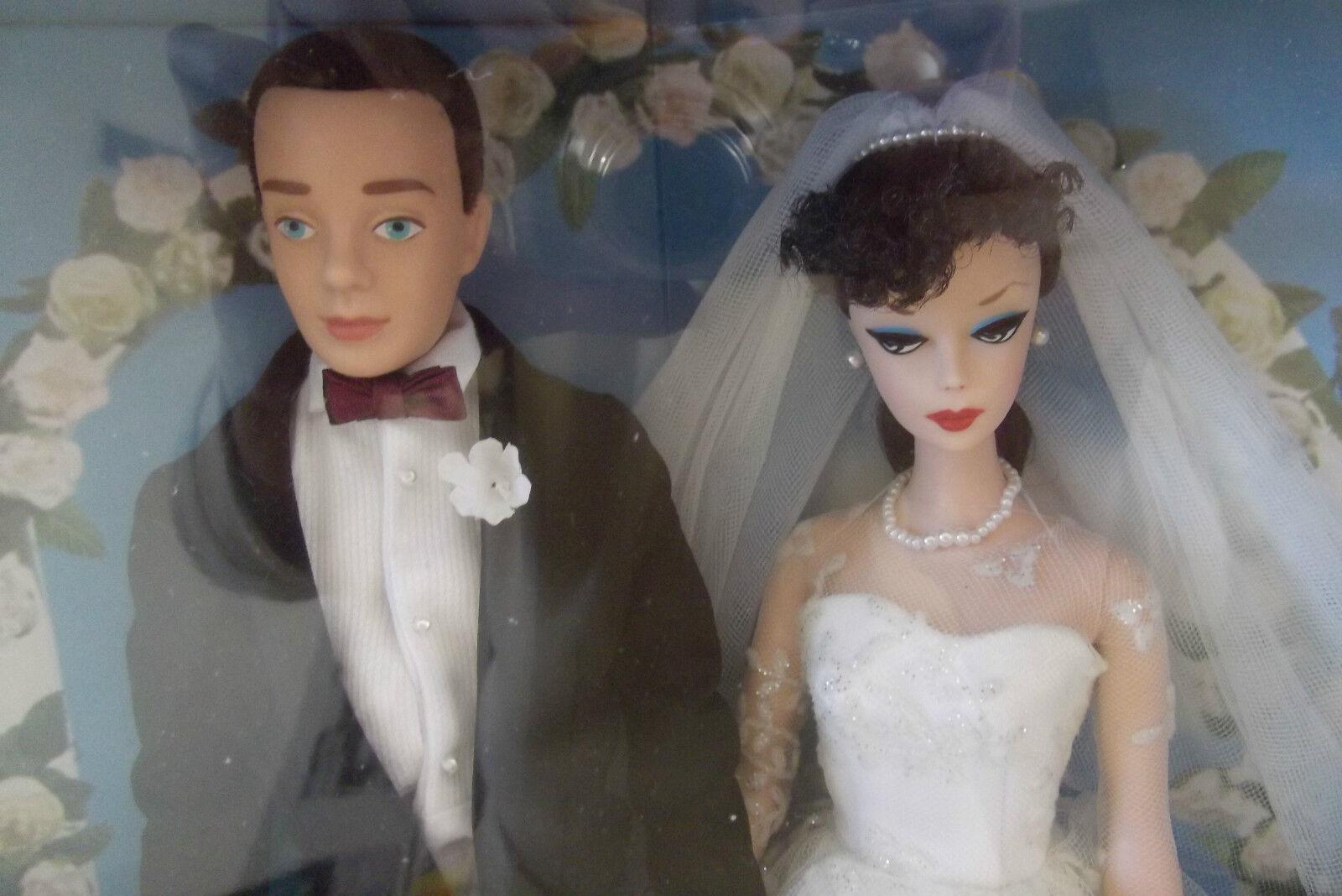 50th Aniversario Día De Boda Novia Barbie y novio Ken muñeca de esmoquin negro Conjunto de Regalo