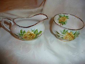 Tea Rose Royal Albert English Bone China Yellow Cream & Sugar Vintage gold trim