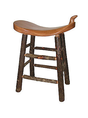 "24"" Rustic Cabin Hickory Oak Western Saddle Bar Stool seat"
