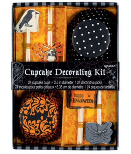 24 Halloween Party Skulls Crows Spiders Cupcake Kit Cupcakes Cups Toppers