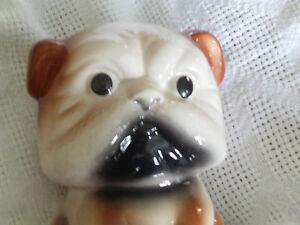 Hand-painted-puppy-Piggy-Penny-money-Bank-New-6-ceramic-Rare-Bull-Dog