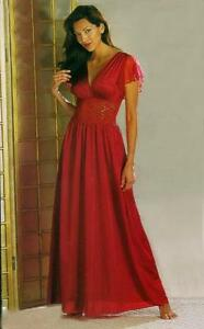 BEAUTY-Sexy-Long-RED-NIGHT-GOWN-Lace-Waist-w-CAP-Sleeves-Nightgown-Size-XL-1X