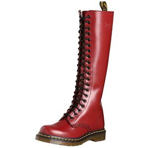 Dr-Martens-Ladies-1B60-20-Eye-Cherry-Red-Smooth-Leather-Knee-High-Boots