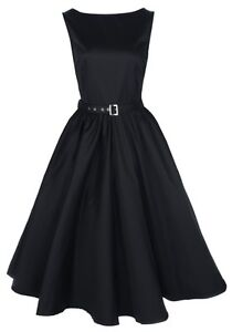 NEW-CLASSY-AUDREY-VINTAGE-BLACK-1950s-ROCKABILLY-SWING-EVENING-DRESS-HEPBURN