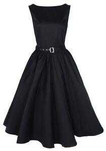 NEW-CLASSY-AUDREY-VINTAGE-BLACK-1950-039-s-ROCKABILLY-SWING-EVENING-DRESS-HEPBURN
