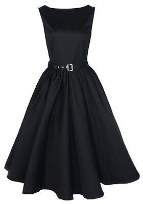 NEW LINDY BOP PETITE AUDREY HEPBURN VINTAGE BLACK 1950s ROCKABILLY EVENING DRESS