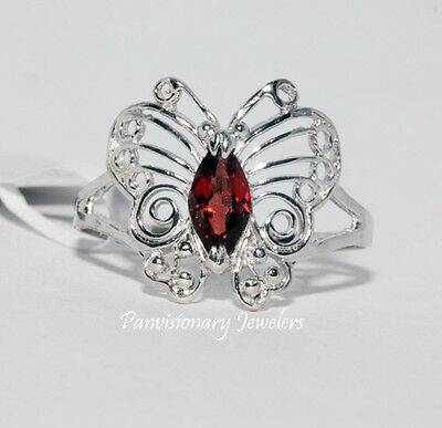 925 Sterling Silver Butterfly Ring Natural Red Garnet Marquise January Gemstone