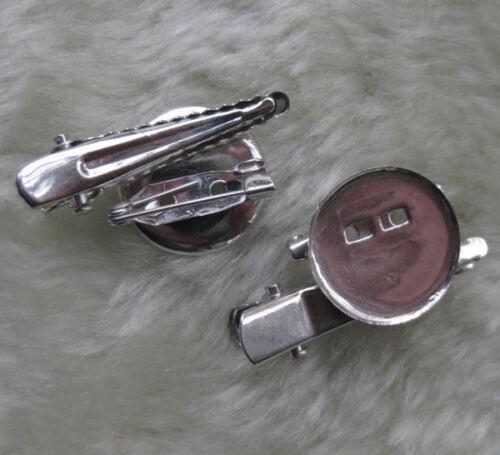 U pick 35mm Silver Metal Brooch Hair Alligator Clip Pin F097