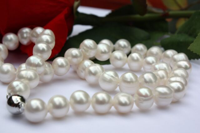 A101 55cm Natürliche Süßwasser Perlen Schmuck Halskette Perlenkette Collier neu